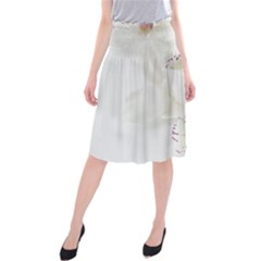 Orchids Flowers White Background Midi Beach Skirt