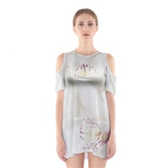 Orchids Flowers White Background Shoulder Cutout One Piece