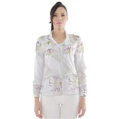 Orchids Flowers White Background Wind Breaker (women)