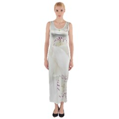 Orchids Flowers White Background Fitted Maxi Dress