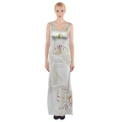 Orchids Flowers White Background Maxi Thigh Split Dress