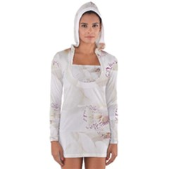 Orchids Flowers White Background Women s Long Sleeve Hooded T-shirt