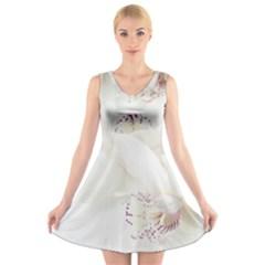 Orchids Flowers White Background V-Neck Sleeveless Skater Dress