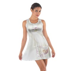 Orchids Flowers White Background Cotton Racerback Dress