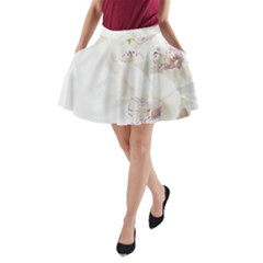 Orchids Flowers White Background A-Line Pocket Skirt