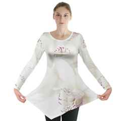 Orchids Flowers White Background Long Sleeve Tunic