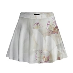 Orchids Flowers White Background Mini Flare Skirt