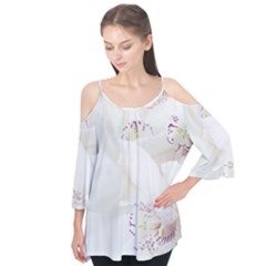 Orchids Flowers White Background Flutter Tees