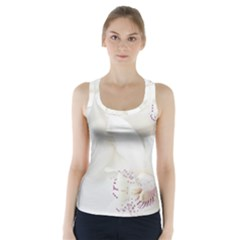 Orchids Flowers White Background Racer Back Sports Top