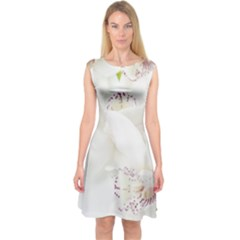 Orchids Flowers White Background Capsleeve Midi Dress