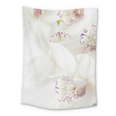 Orchids Flowers White Background Medium Tapestry
