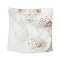 Orchids Flowers White Background Square Tapestry (small)