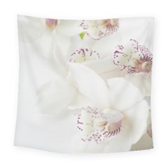 Orchids Flowers White Background Square Tapestry (large)