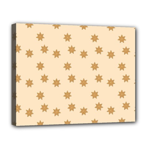 Pattern Gingerbread Star Canvas 14  x 11