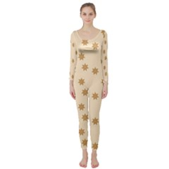Pattern Gingerbread Star Long Sleeve Catsuit