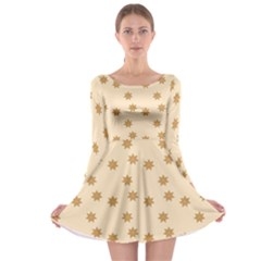 Pattern Gingerbread Star Long Sleeve Skater Dress