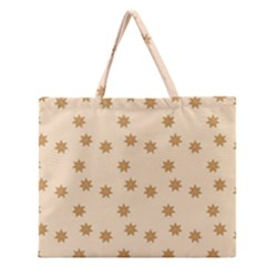 Pattern Gingerbread Star Zipper Large Tote Bag