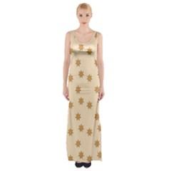 Pattern Gingerbread Star Maxi Thigh Split Dress