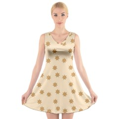 Pattern Gingerbread Star V Neck Sleeveless Skater Dress