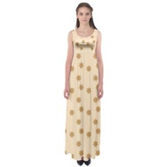 Pattern Gingerbread Star Empire Waist Maxi Dress
