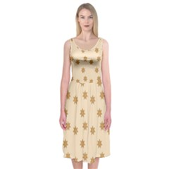 Pattern Gingerbread Star Midi Sleeveless Dress
