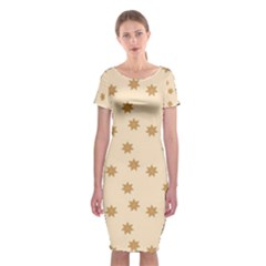 Pattern Gingerbread Star Classic Short Sleeve Midi Dress