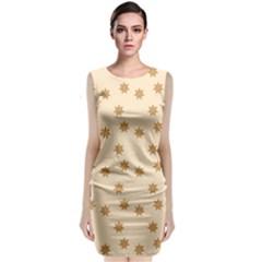 Pattern Gingerbread Star Sleeveless Velvet Midi Dress
