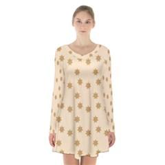 Pattern Gingerbread Star Long Sleeve Velvet V Neck Dress