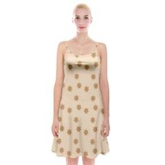 Pattern Gingerbread Star Spaghetti Strap Velvet Dress