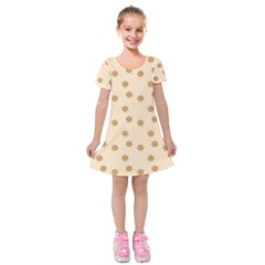 Pattern Gingerbread Star Kids  Short Sleeve Velvet Dress