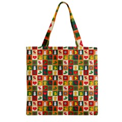 Pattern Christmas Patterns Zipper Grocery Tote Bag