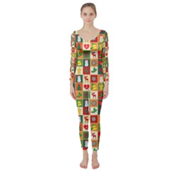 Pattern Christmas Patterns Long Sleeve Catsuit