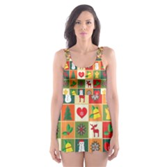 Pattern Christmas Patterns Skater Dress Swimsuit