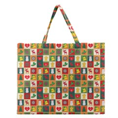 Pattern Christmas Patterns Zipper Large Tote Bag
