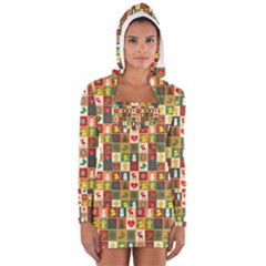 Pattern Christmas Patterns Women s Long Sleeve Hooded T Shirt