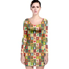Pattern Christmas Patterns Long Sleeve Velvet Bodycon Dress