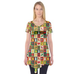 Pattern Christmas Patterns Short Sleeve Tunic