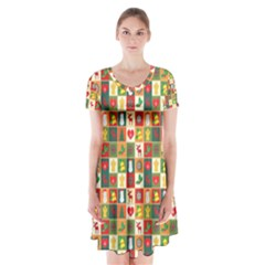 Pattern Christmas Patterns Short Sleeve V Neck Flare Dress