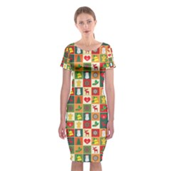 Pattern Christmas Patterns Classic Short Sleeve Midi Dress