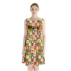 Pattern Christmas Patterns Sleeveless Chiffon Waist Tie Dress