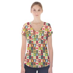 Pattern Christmas Patterns Short Sleeve Front Detail Top