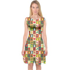 Pattern Christmas Patterns Capsleeve Midi Dress