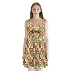 Pattern Christmas Patterns Split Back Mini Dress