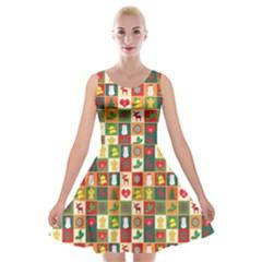 Pattern Christmas Patterns Velvet Skater Dress