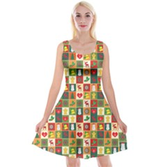 Pattern Christmas Patterns Reversible Velvet Sleeveless Dress