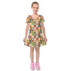 Pattern Christmas Patterns Kids  Short Sleeve Velvet Dress