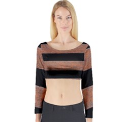 Stainless Rust Texture Background Long Sleeve Crop Top