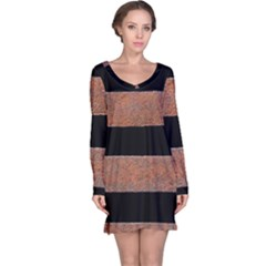 Stainless Rust Texture Background Long Sleeve Nightdress