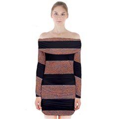 Stainless Rust Texture Background Long Sleeve Off Shoulder Dress