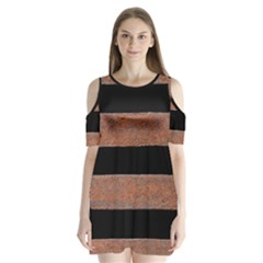 Stainless Rust Texture Background Shoulder Cutout Velvet  One Piece